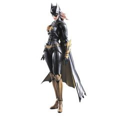 Derived from the popular Batman: Arkham Knight video game, Batgirl's long hair is reproduced using flexible materials and ratcheted jointing, while the three-part construction of her cape enables elegant movement and posing. The Batman Arkham Knight Batgi Dc Heroes, Comic Book Heroes, Comic Books Art, Batman Arkham Knight, Batman And Batgirl, Batman Art, Dc Comics Art, Comics Girls, Marvel Dc