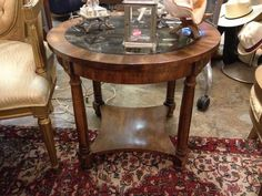 Round End Table with Smoked Glass Insert and Bottom Shelf  - $125
