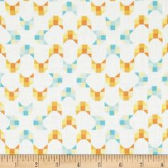 Designed by Alyssa Thomas of Penguin and Fish for Clothworks Textiles, this GOTS certified organic cotton includes colors of orange, aqua, yellow and white. Use for quilting, apparel and home decor accents.