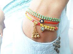 Ethnic bracelet evil eye jewelry green orange yellow pendant accessories women gift best friend birthday turkish istanbul colorful stylish