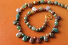 Ah, the rich, jewel-like colors in this faceted natural Agate necklace…
