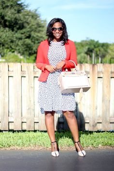 "Orange Blazer and White Polka Dot Dress ""White After Labor Day"""