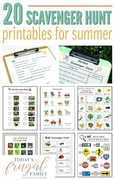 Are you looking for some fun, low-cost activities to do with the kids this summer? These 20 free scavenger hunt printables are sure to be a hit! Summer Activities For Kids, Craft Activities For Kids, Family Activities, Toddler Activities, Learning Activities, Outdoor Activities, Kids Camp Games, Camping Games, Camping Activities
