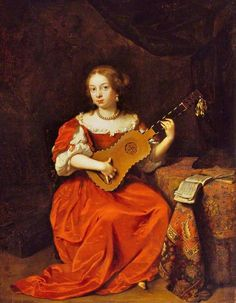 Caspar Netscher (Dutch Baroque Era Painter, c 1635-1684) Lady Playing a Guitar 1669