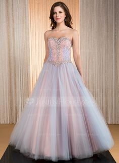 Ball-Gown Sweetheart Floor-Length Taffeta Tulle Prom Dress With Beading Sequins (017041161) - JenJenHouse