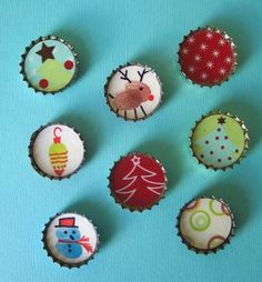 Kids can make holiday magnets (or bow decorations!) in bottle caps.  Check out the darling fingerprint reindeer!