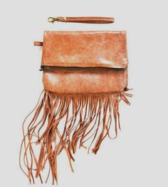 Roccio Foldover Leather Clutch | Soft, dreamy cinnamon colored Italian leather makes up this fo... | Clutches & Special Occasion Bags