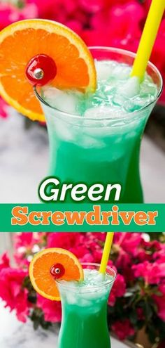 The Green Screwdriver is a great summertime cocktail that's perfect for lounging on the deck or at the pool. Made with Vodka, Curacao, Orange Juice and lemon lime soda, it's a fabulously simple cocktail to put to make. #vodka #cocktails #cocktailtime #recipe #lemonlime #drink