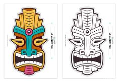 Tiki Faces, Tiki Head, Tiki Statues, Beach Logo, Tribal Face, Tribal Animals, Hawaiian Tiki, African Paintings, Tiki Mask