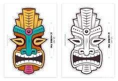 Tiki Faces, Tiki Head, Tiki Statues, Beach Logo, Hawaiian Party Decorations, Tribal Face, Tribal Animals, Hawaiian Tiki, Tiki Mask