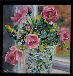 Bonica roses Kristy Edwards. 12-12 oil panel
