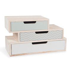 Caja con 3cajones de madera An. 30cm NOLITA