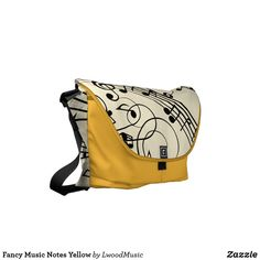Fancy Music Notes Yellow Small Messenger Bag