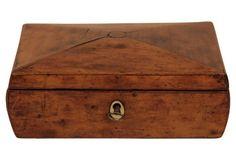 Antique Wood Box w/ Original Key