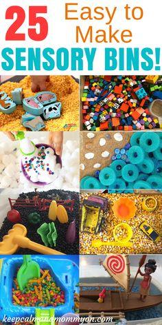 25 Easy To Make Sensory Bins! Fun and educational sensory bin ideas for toddlers, sensory bin ideas for preschoolers, and sensory activities!