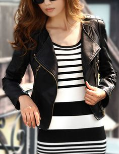 Women Black PU Leather Lapel Moto Jacket -SheIn(abaday)