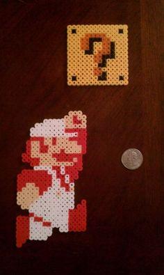 Perler Beads; Fire Mario & Block