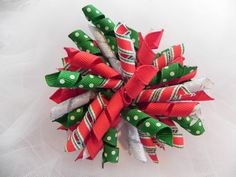 Santa's Express Single Large Korker, Girls, Toddlers, Photo Prop, Christmas, Holiday, Green, Red, Silver Metallic, Baby, Hair bow, Dots by CottonCandyBows on Etsy
