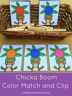 chicka chicka boom boom color match and clip for color recognition and fine motor development.