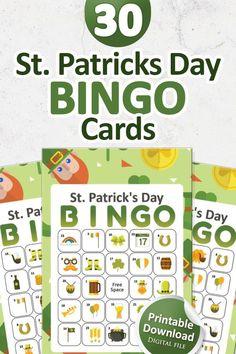 Bingo Set, Bingo Games, Adult Party Games, Leprechaun Games, St Patrick's Day Games, Christmas Bingo Game, Download Digital, Baby Shower Printables, Printable Party