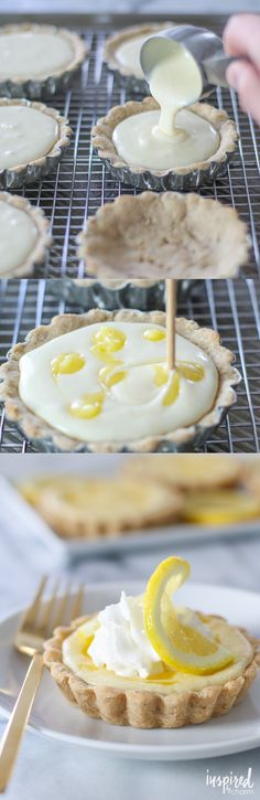 Lemon Curd Cheesecake Tarts - spring dessert recipe, lemon dessert ideas