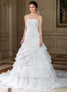 Wedding Dresses - $242.99 - A-Line/Princess Strapless Chapel Train Taffeta Organza Wedding Dress With Ruffle Lace Beadwork Sequins (002001635) http://jjshouse.com/A-Line-Princess-Strapless-Chapel-Train-Taffeta-Organza-Wedding-Dress-With-Ruffle-Lace-Beadwork-Sequins-002001635-g1635