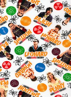 The Big Bang Theory fabric - Cast & Elements - White