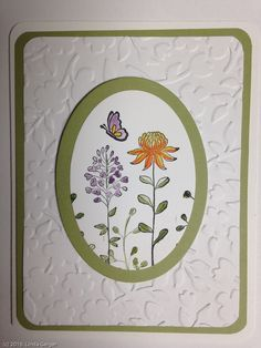 White card base with mossy meadow layer, mossy meadow oval frame, and oval stamped with stamps from the Stampin Up's Flowering Fields stamp set by maureen Hand Made Greeting Cards, Making Greeting Cards, Greeting Cards Handmade, Butterfly Cards, Flower Cards, Embossed Cards, Stamping Up Cards, Cool Cards, Cards Diy