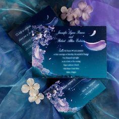 fancy romantic fairytale floral blue wedding invitations EWI044 as low as $0.94