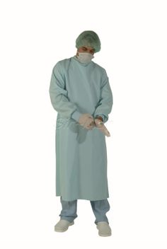 SG-04 SURGICAL GOWN •	%100 PU fabric, impervious and sterilizable  •	Color: Sky blue  •	Anti-sweat, wrinkle resistant, shrink proof  •	Comfortable and easy to move inside •	Sizes: S-M-L-XL-2XL