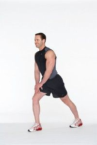 Calf Stretch The purpose of the calf stretch is to lengthen the muscle at the back of the calf called the gastrocnemius muscle. To stretch this muscle effectively, keep both feet in a parallel position. Step 1 Stand tall with feet hip-width apart, knees relaxed, toes pointing forward or in a comfortable position, upper body lifted, body weight distributed in the hips over the heels, shoulders relaxed.   Step 2 Place both hands on right thigh and step forward with right leg, bending the knee in l