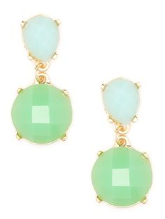 We're loving the soft pale palette at the heart of these dazzling drop earrings. They're gorgeous sea-foam blues and greens although, of course, we're mad for the beautifully faceted gems, too.