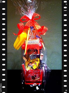 "Nice Movie Basket - ""Smaller version of a movie night auction basket I made. Raffle Baskets, Gift Baskets, Movie Basket, Silent Auction Baskets, Carnival Ideas, Auction Ideas, School Fundraisers, Fundraising Ideas, Santa Baby"