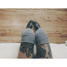 thigh highs and leg tattoos