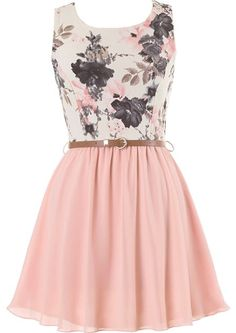 Sweetest Peach Dress: Features a textured floral print bodice in a vintage color scheme, removable skinny belt in a rich camel tone, and a twirl-worthy peach chiffon skirt to finish.