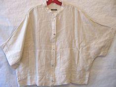 OSKA 100% Linen Shirt Jacket Kimono Short Sleeve Oversized Boxy Plus Lagenlook 4 #Oska #BasicJacket