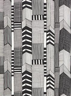 Buy Marimekko Ruutukaava Wallpaper, Black / White, 14111 online at JohnLewis.com - John Lewis