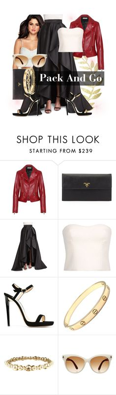 """""""NYFW-Pack And Go/Selena Gomez"""" by thesmithes on Polyvore featuring Balenciaga, Prada, Monique Lhuillier, STELLA McCARTNEY, Jimmy Choo, Cartier, Chanel, Tom Ford, women's clothing and women"""