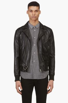 Surface To Air Black Leather Quilted Justice Edition Gaspard Jacket for men | SSENSE