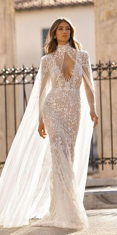 Lace mermaid wedding dress with long illusion sleeves deep-v neckline bridal cape See more gorgeous wedding dresses by clicking on the photo Wedding Robe, Western Wedding Dresses, Bridal Wedding Dresses, Dream Wedding Dresses, Lace Wedding, Wedding Dresses With Cape, Modest Wedding, Wedding Outfits, Berta Wedding Gowns