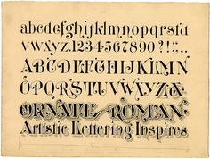 zanerian manual of alphabets and engrossing | ink design of writings script - Ornate Roman