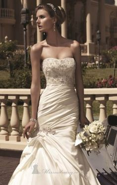 Embellished Strapless Gown by Casablanca Bridal 2104