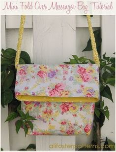 Mini Fold Over Messenger Bag - I made these a while ago - cute size, but just a little tiny bit bigger & they'd work perfect for carrying your scriptures to church!