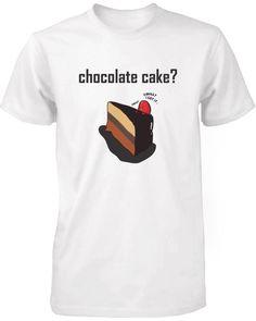 Chocolate Cake with Strawberry Men's Cute Graphic Shirt Humorous White Tee