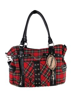 38d4a4acc2ad Cute handbag with front handcuff an applique with red tartan and black faux  leather details.