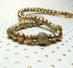 Champagne taupe pearl necklace Single strand Gold by ShopPretties, $65.00