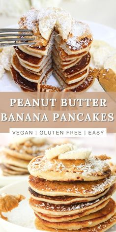 These easy peanut butter banana pancakes are the perfect protein-rich and filling breakfast recipe when you want to enjoy something quick for brunch with friends are family. These hotcakes are delicious, healthy, and also completely plant based, vegan, gluten-free, dairy-free, and egg-free. This is the best idea for starting your mornings with something good and will energize you for your day. Sprinkle some coconut flakes, fresh sliced bananas, or even top it with more fruit and chocolate chips! Vegan Pancake Recipes, Vegan Pancakes, Banana Pancakes, Vegan Desserts, Delicious Desserts, Dessert Recipes, Vegan Snacks, Fruit Recipes, Brunch Recipes