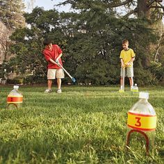 It's hard to resist the appeal of putt-ering around the yard on a weekend afternoon. All it takes to get a quick game underway is a few plastic practice golf balls and the following easy-to-make props.