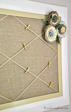 Here are cork board ideas for bulletin, photos, or notes. Decorate your home office wall, bedroom, or kitchen with cork board to make more beautiful. Burlap Bulletin Boards, Office Bulletin Boards, Bulletin Board Design, Burlap Board, Office Boards, Bulletin Board Borders, Burlap Projects, Burlap Crafts, Classroom Design