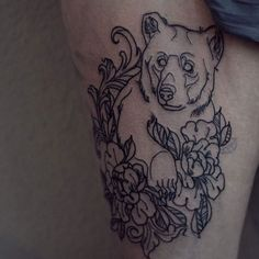 """""""First Session done! #beartattoo #bear #tattoo #neotraditional"""""""